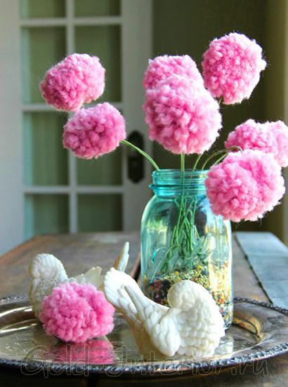 Цветы-помпоны из нитей своими руками