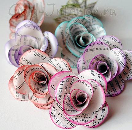 Цветы с окрашенными цветными краями из книжных страниц