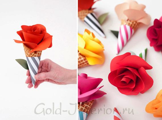 Цветы в рожках для сервировки стола