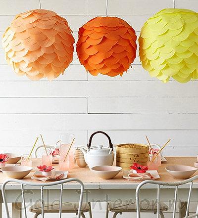 Цветные абажуры из плотной бумаги - рассеянное общее освещение