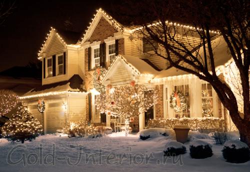 Декорирование дома и деревьев светодиодами