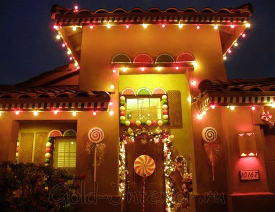 Декорирование дома светодиодной нитью