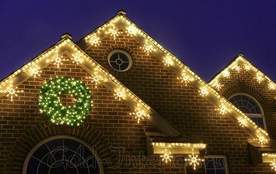 Декорирование крыши светодиодными снежинками