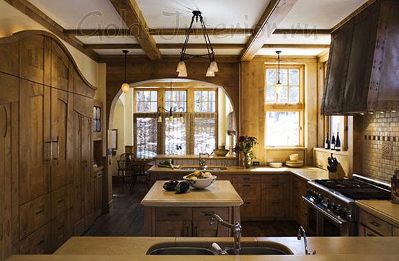 Деревянныйй кухонный гарнитур в стиле модерн