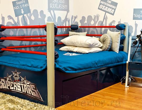 Детская кровать в виде боксёрского ринга