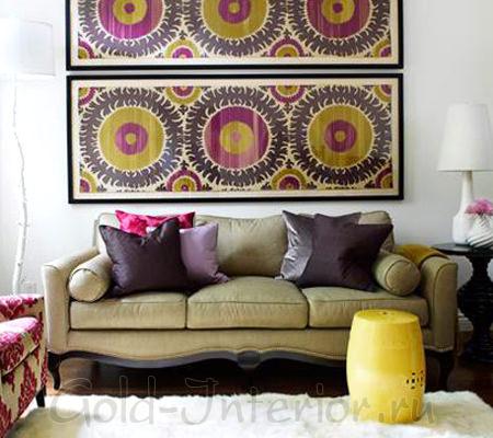 Диван цвета хаки + фиолетовый текстиль