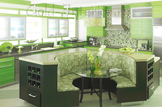 Диван угловой полукруглой формы в центре кухни