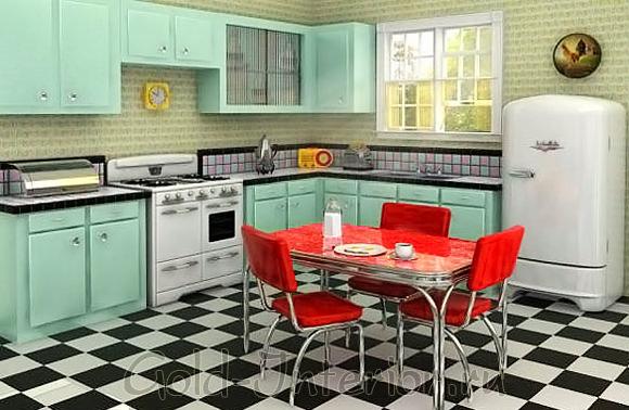 Дизайн интерьера кухни в стиле ретро