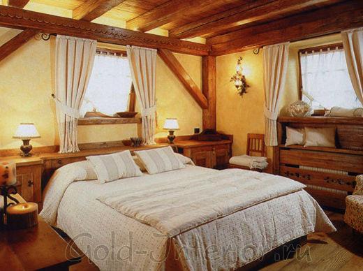Дизайн спальной комнаты в жанре кантри