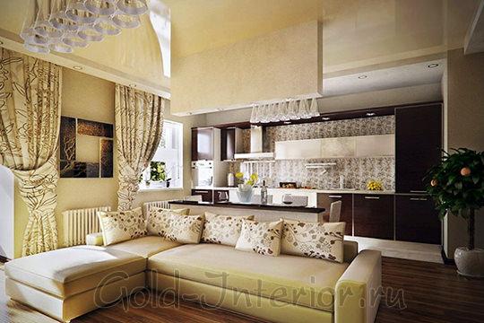 Дизайн интерьера гостиной с кухней в однушке