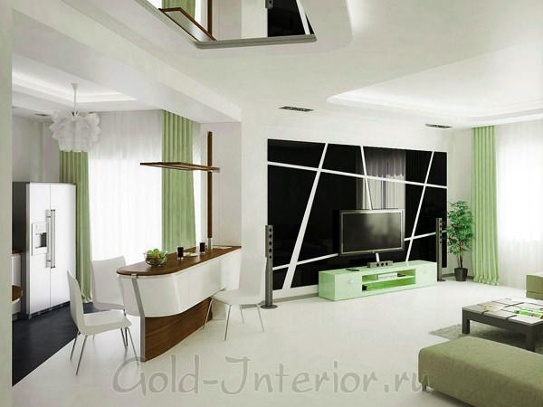 Дизайн интерьера гостиной, объединённой с кухней - больше света