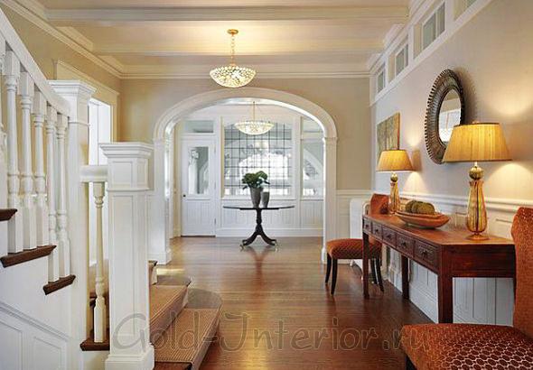 Дизайн интерьера холла с лестницей в доме