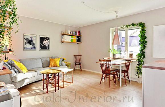 Дизайн интерьера кухни-гостиной в однокомнатной квартире