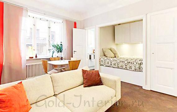 Дизайн маленькой 1-комнатной квартиры с нишей