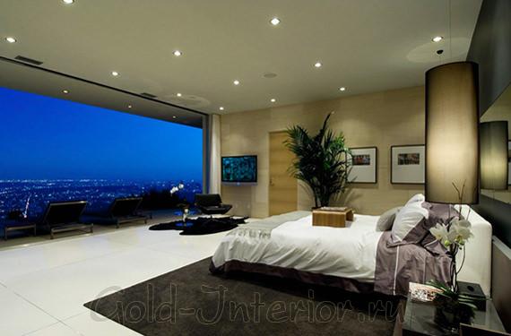 Дизайн спальни с потолочными светильниками