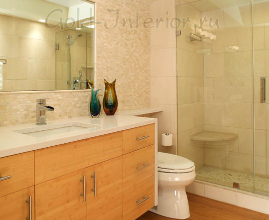 Душевая кабина в объединённой ванной с туалетом