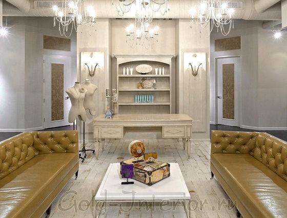 Два дивана цвета хаки и белый столик