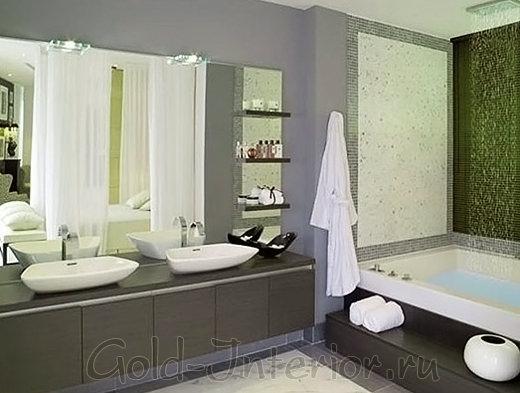 Два умывальника в интерьере ванной