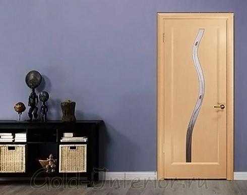 Межкомнатная дверь из белёного дуба со стеклянным узором