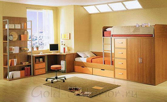Двухэтажная кровать, объединённая со шкафом