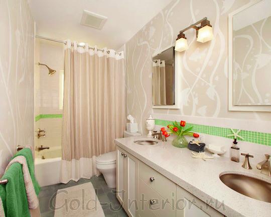 Эко-стиль в оформлении в ванной совмещённой с туалетом
