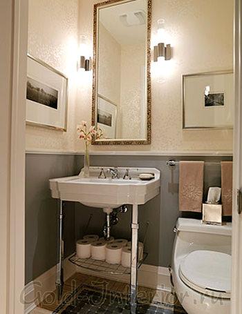 Элегантный интерьер туалета в карамельно-серебристой гамме
