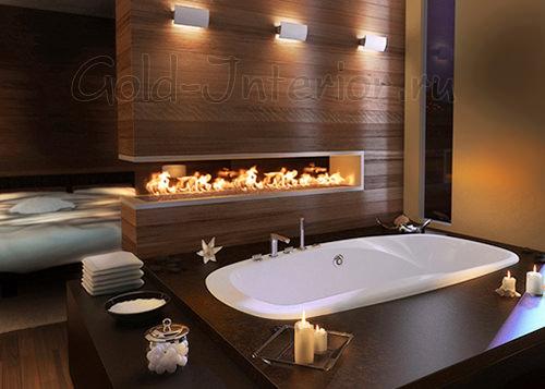 Электрический камин в интерьере ванной комнаты