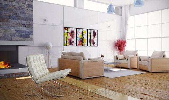 Элементы мягкой мебели выполнены из белёного дуба