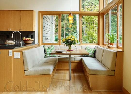 Эркерные диваны в дизайне кухни