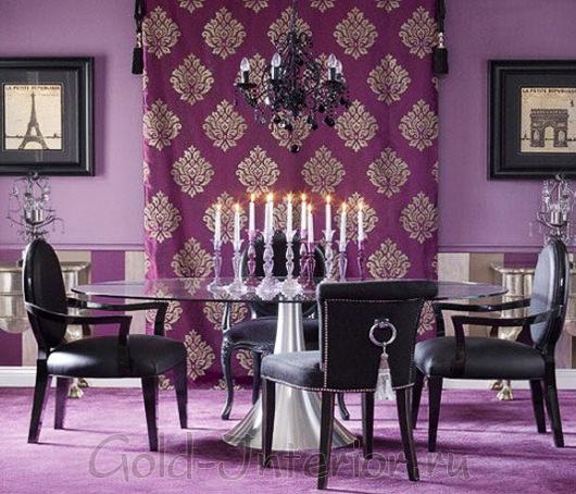 Фиолетовый + чёрный цвет в интерьере