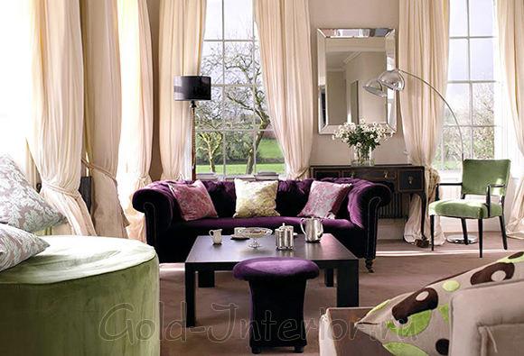 Фиолетовый диван + аксессуары полынно-зелёного оттенка