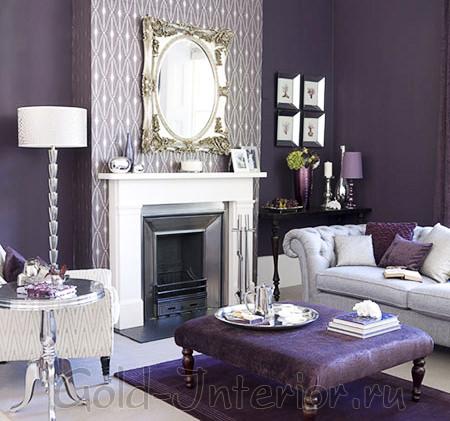 Фиолетовые и белые оттенки в гостиной