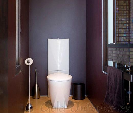 Фиолетовый и песочный цвета в декоре туалета