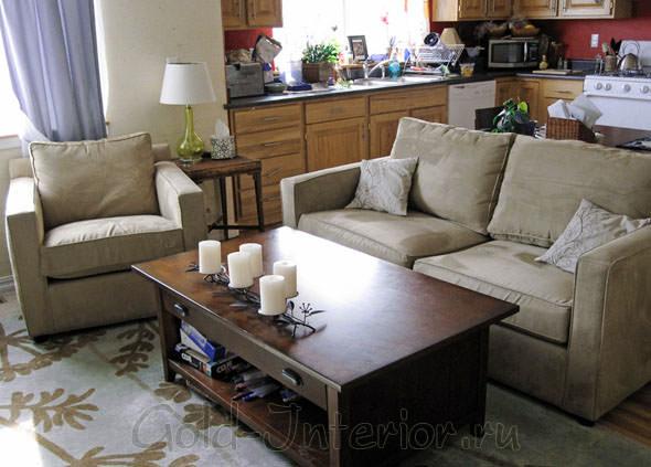 Фото дизайна интерьера кухни, объединённой с гостиной