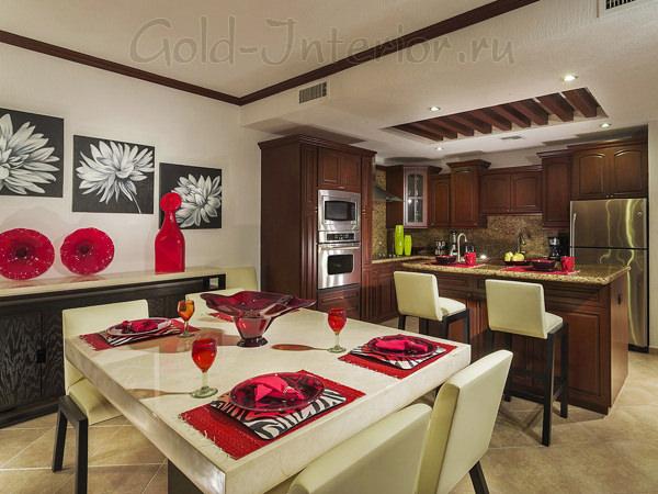 Фото интерьера столовой-кухни