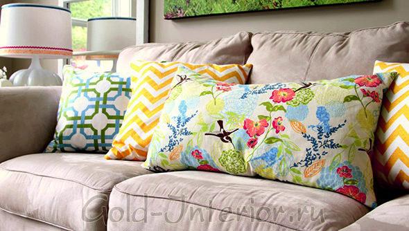 Фото красочных подушек, созданными своими руками