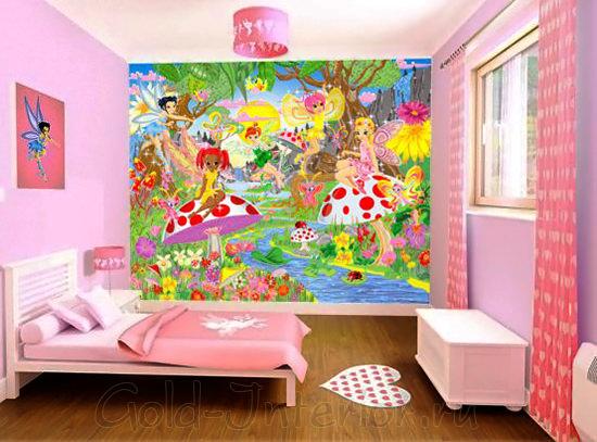 Фотообои в интерьере комнаты для девочек