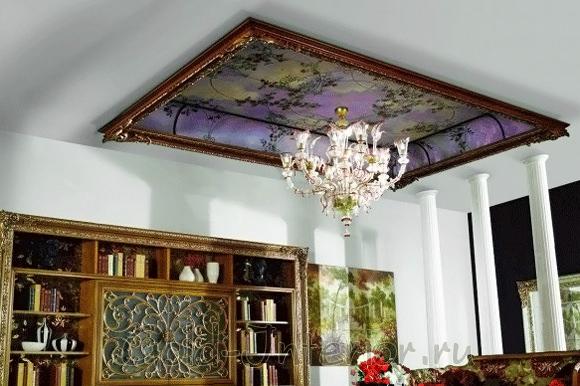 Фреска потолочная в рамке