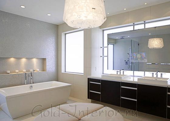 Галогеновые лампы в интерьере ванной