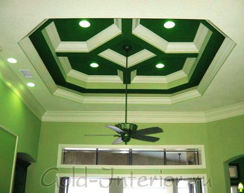 Гипсокартоновый потолок с углублением