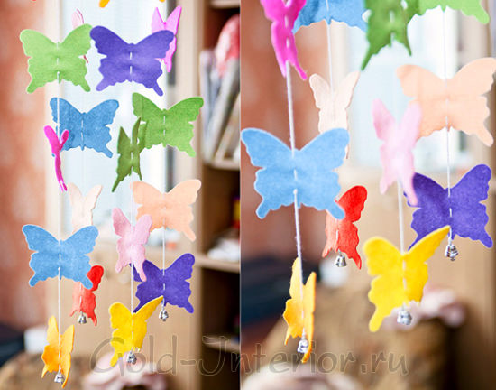 Гирлянда с бабочками из фетра