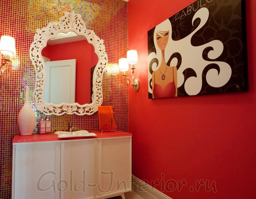 Гламурная фотокартина в интерьере ванной комнаты