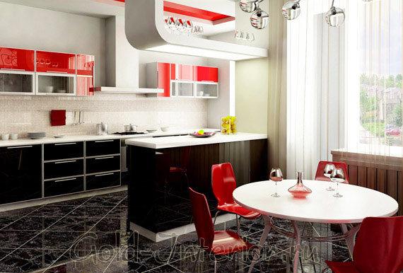 Глянцевая поверхность алого цвета в декоре кухни