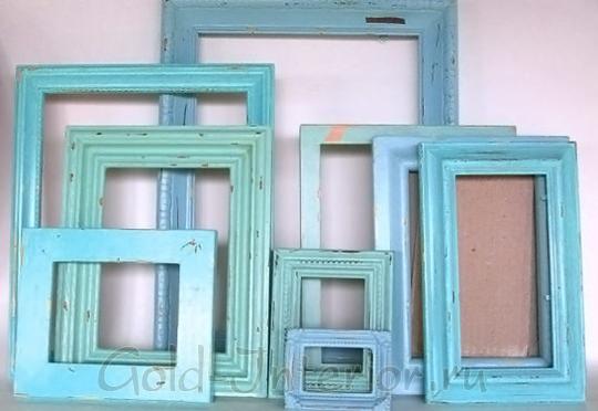 Голубые рамочки в винтаном стиле