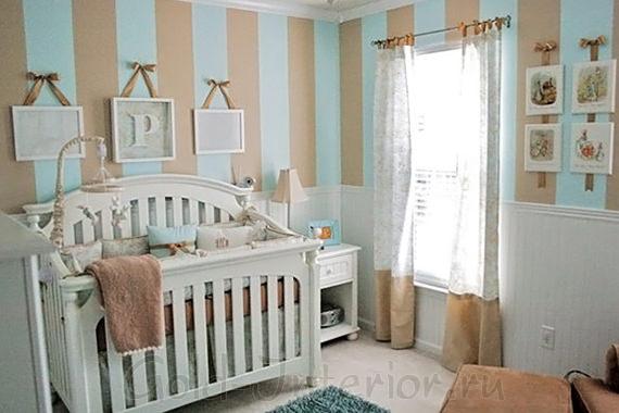 Голубой + бежевый в комнате новорождённого