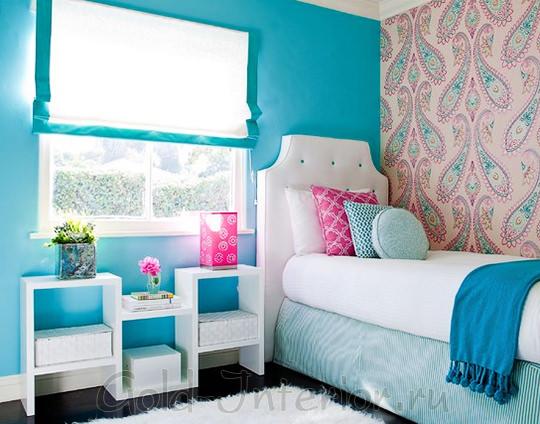 Голубой цвет в оформлении девичьей комнаты