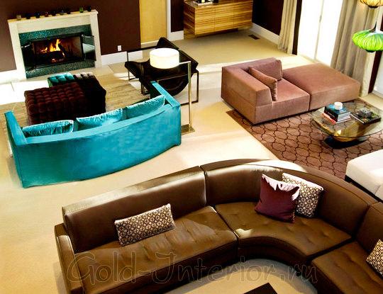 Голубой диван + шоколадный диван