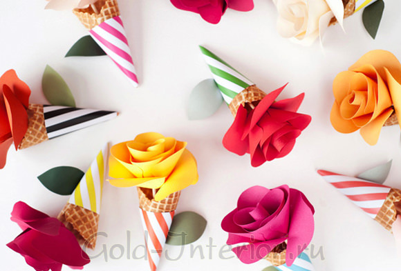 Готовые цветы в рожочках