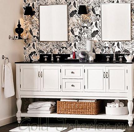 Графичные цветочные обои + белая стена
