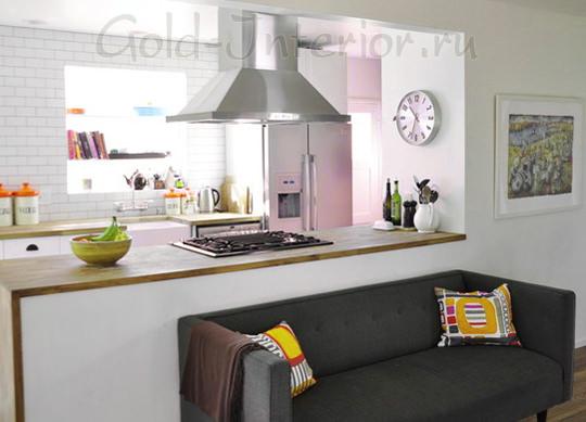 Графитно-серый цвет дивана на кухне